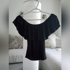 Black off the shoulder ruffle top